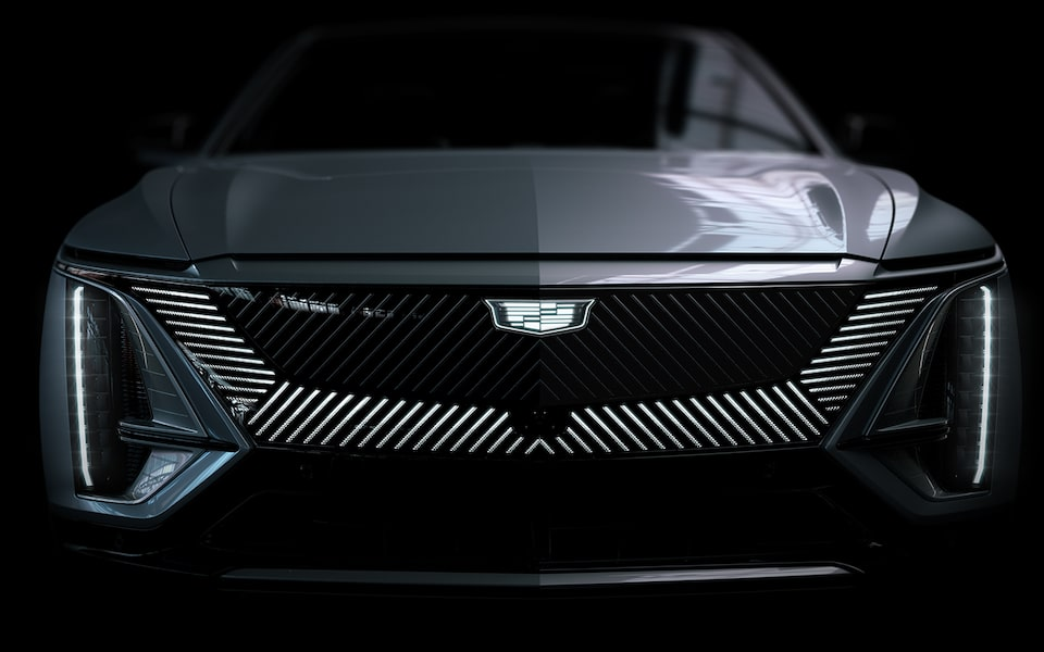 Cadillac LYRIQ First Edition All-Electric SUV Close-Up of Front Grill and Headlight Design