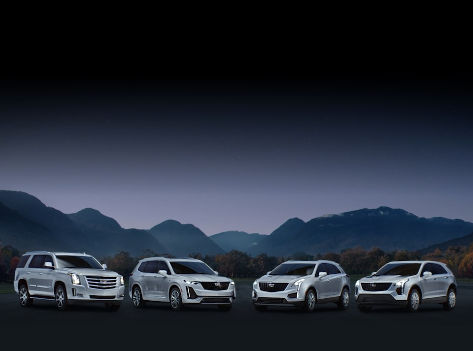 Cadillac SUV and Crossover Lineup with Mountain Backdrop