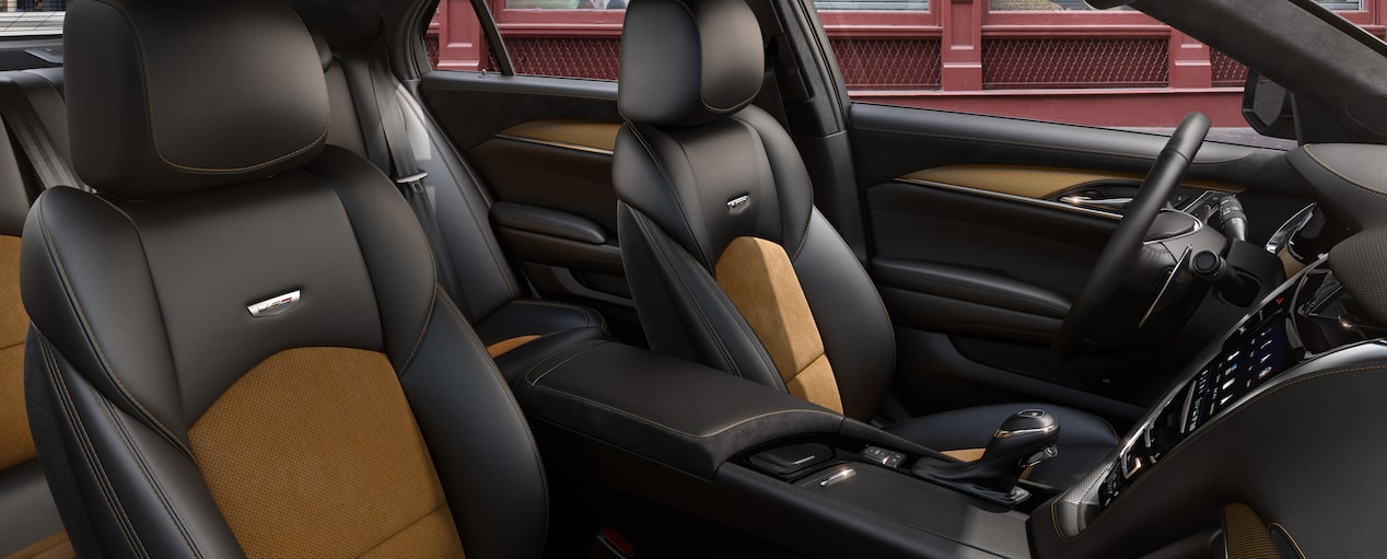 CTS-V Front Seats in Jet Black Semi-Aniline with Saffron