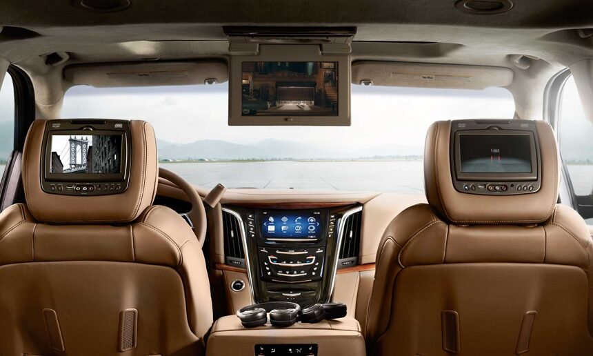 Rear Entertainment Inside Escalade Platinum