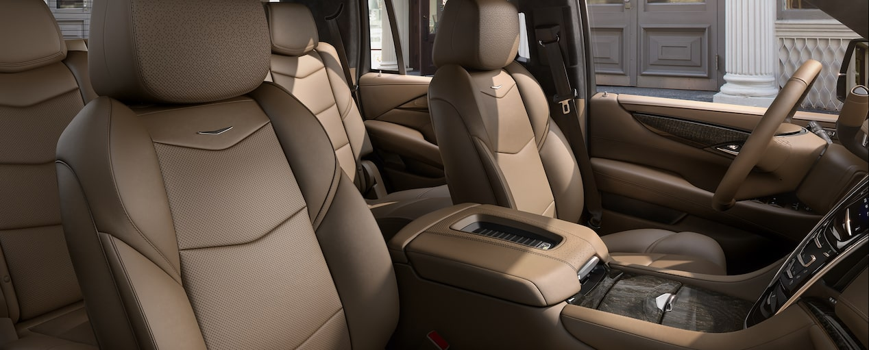 Escalade SUV Front Seats in Maple Sugar with Black