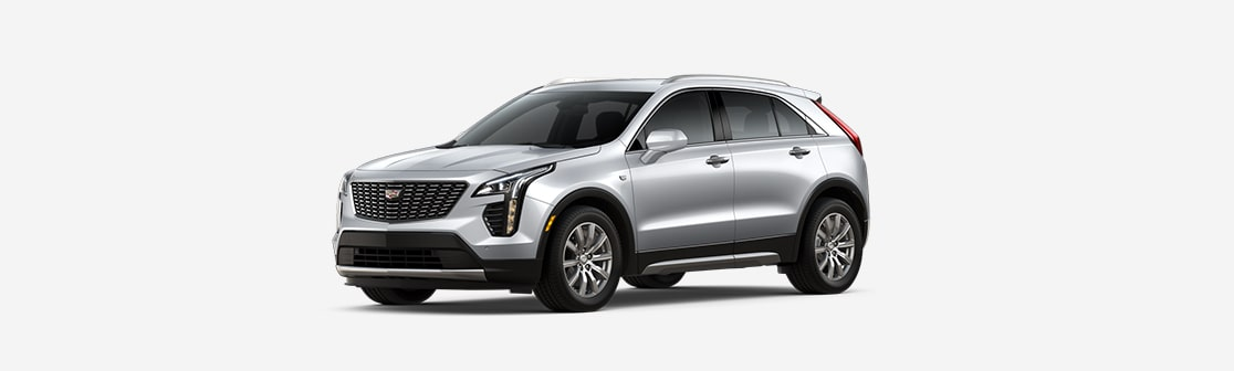 2019 Cadillac XT4 Luxury SUV Driver Side View in Satin Steel Metallic