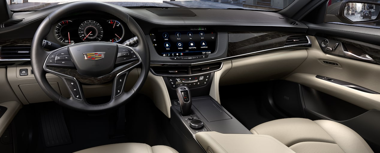 2019 CT6 Sedan Interior in Sahara Beige with Jet Black Accents and Chevron Perforated Inserts