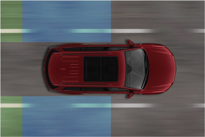 Diagram of the lane change safety feature  available in the 2020 Cadillac XT6 full-size SUV