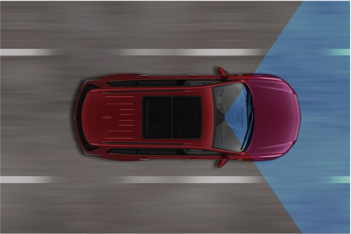 Diagram of the lane keep safety feature available in the 2020 Cadillac XT6 full-size SUV