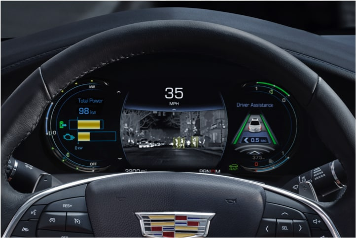 Night vision features in the 2020 Cadillac XT6 full-size SUV