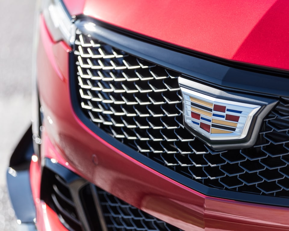 Red CT4-V Blackwing Closeup of Exterior Grille & Cadillac Emblem