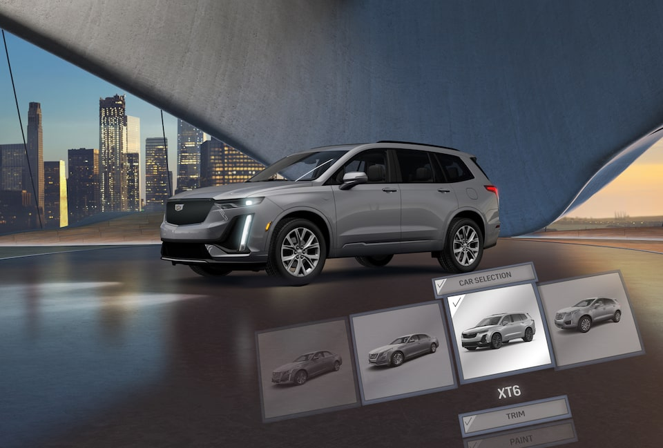 An SUV displayed within the Cadillac Virtual Reality Experience